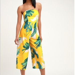 Lulu's Tropical Yellow Strapless Jumpsuit: NWOT
